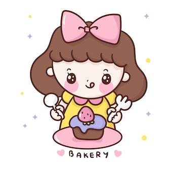 Caricature de fille mignonne mangeant le style kawaii de petit gâteau