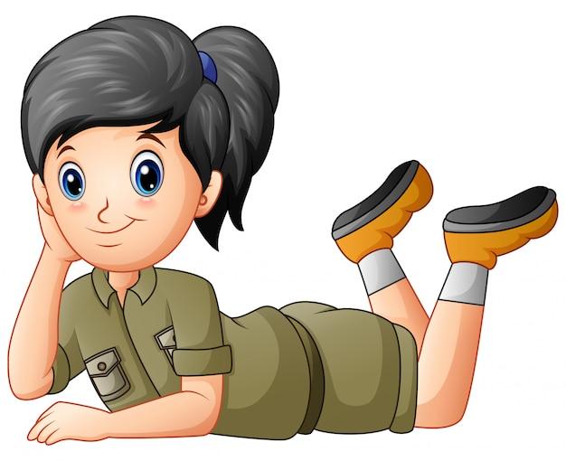 Caricature de fille scout allongé sur blanc