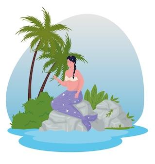 Caricature de fille de sirène de conte de fées en illustration de la mer