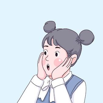 Caricature de fille surprise