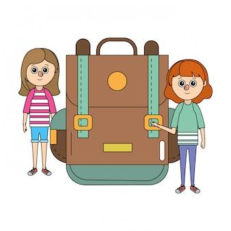 Caricature de filles d'éducation scolaire