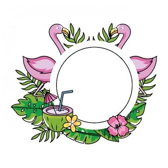 Caricature de flamant rose été tropical