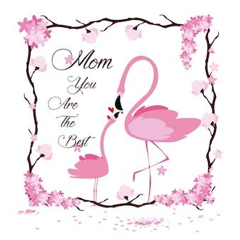 Caricature de flamant rose de la fête des mères heureux