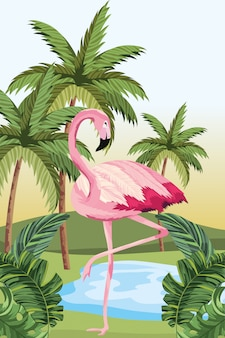 Caricature de flamant tropical