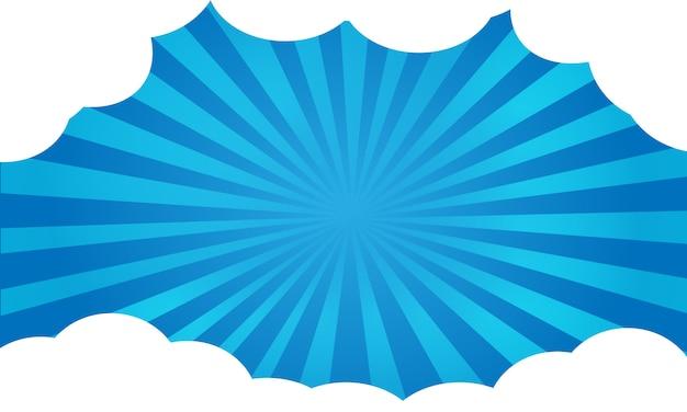 Caricature de fond bleu brille avec cadre de nuages.