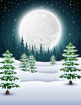 Caricature de fond de nuit d'hiver avec des pins dans la nuit