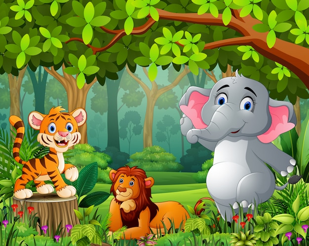 Caricature de forêt de paysage de vert avec animal sauvage
