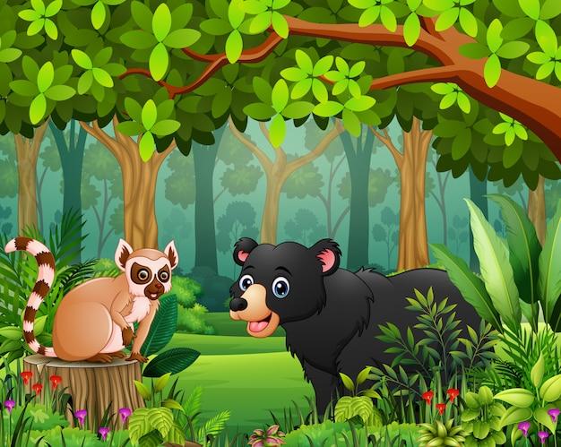 Caricature de forêt paysage de vert au printemps avec animal