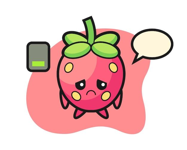 Caricature de fraise faisant un geste fatigué