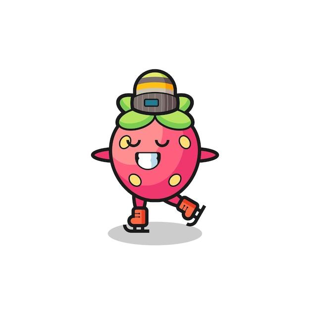 Caricature de fraise en tant que joueur de patinage sur glace faisant des performances, design de style mignon pour t-shirt, autocollant, élément de logo
