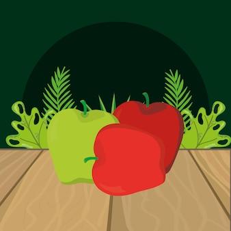 Caricature de fruits aux pommes