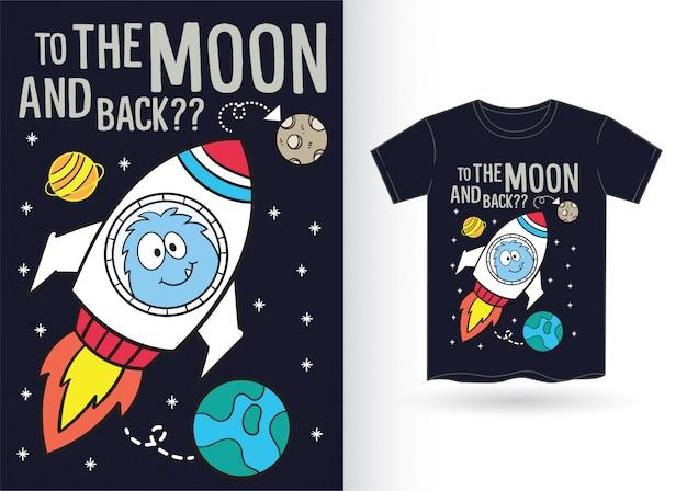 Caricature de fusée et espace pour tshirt