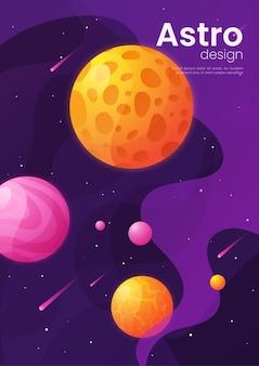 Caricature futuriste de l'espace lointain