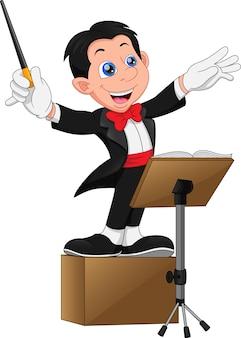 Caricature de garçon de chef d'orchestre jouant