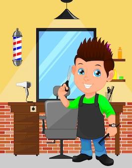 Caricature de garçon de coiffeur