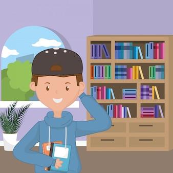 Caricature de garçon de la conception de l'école