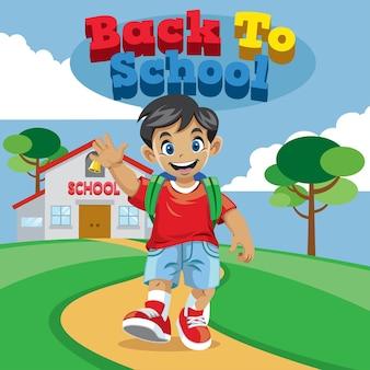 Caricature de garçon d'école