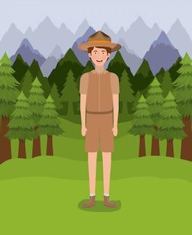 Caricature de garçon forestier