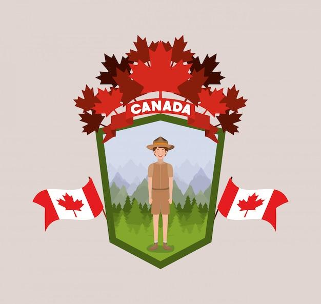 Caricature de garçon de garde forestier et canada