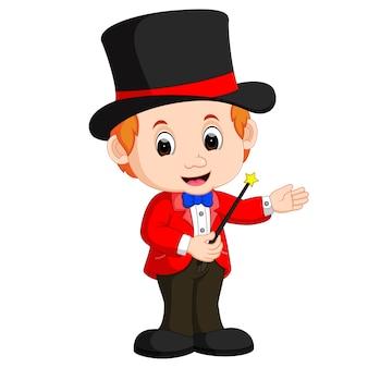Caricature de garçon magicien