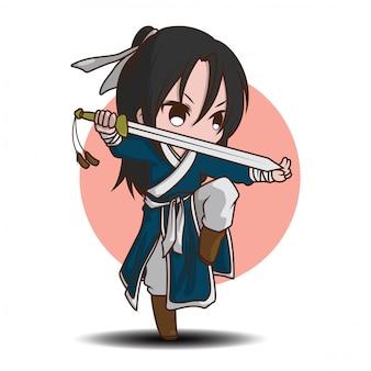 Caricature de garçon mignon en costume de maître de bataille chinois.