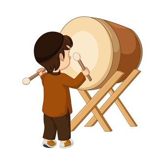 Caricature de garçon musulman heureux frapper bedug