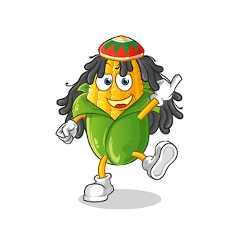 Caricature de garçon reggae de maïs. mascotte de dessin animé