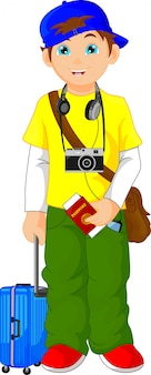 Caricature de garçon touristique