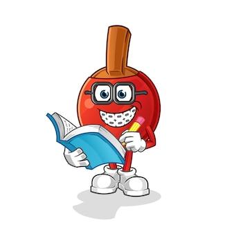 Caricature de geek de batte de tennis de table. mascotte de dessin animé