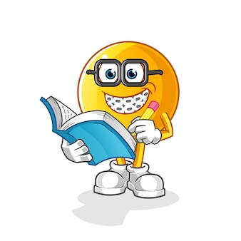 Caricature de geek émoticône. mascotte de dessin animé