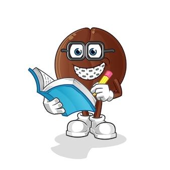 Caricature de geek de grain de café. mascotte de dessin animé