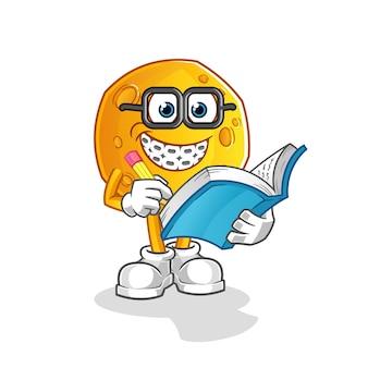 Caricature de geek de lune. mascotte de dessin animé