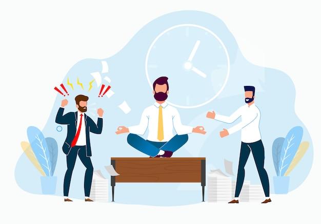 Caricature de la gestion du stress professionnel au travail.