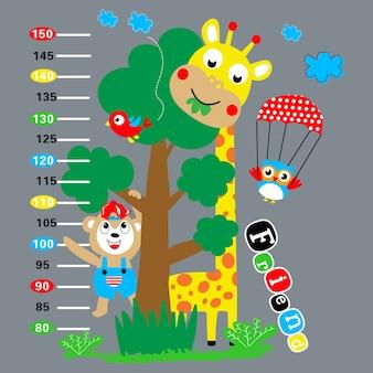 Caricature de girafe animaux autocollant mural