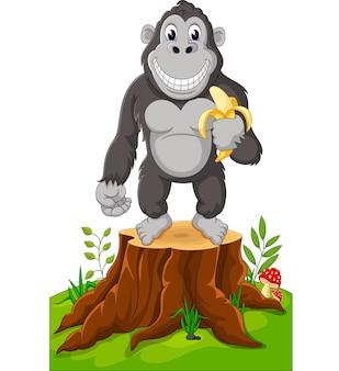 Caricature de gorille debout sur une souche d'arbre