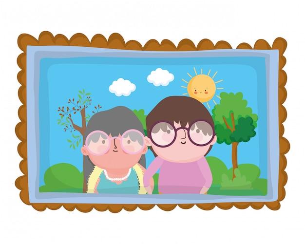 Caricature de grand-mère et grand-père