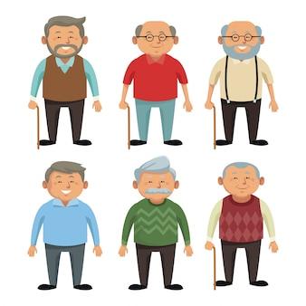 Caricature de grands-parents mignons