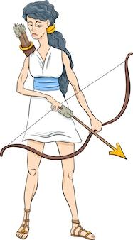 Caricature grecque artemis dessin animé