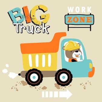 Caricature de gros camion avec pilote mignon