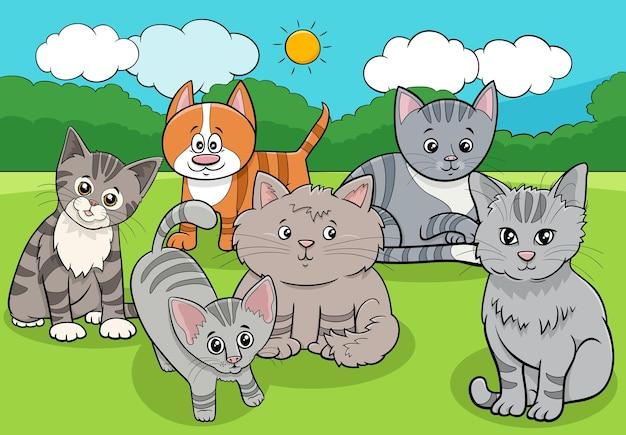 Caricature de groupe d'animaux chats et chatons