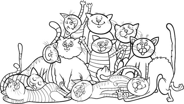 Caricature de groupe de chats heureux pour livre de coloriage