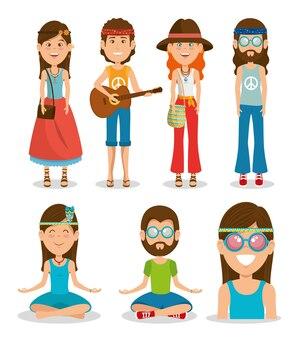 Caricature de hippie