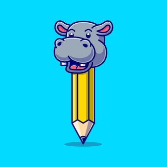 Caricature d'hippopotame avec corps de crayon