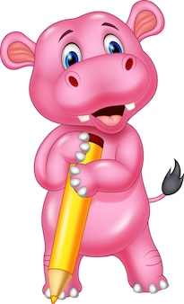 Caricature de hippopotame mignon tenant un crayon jaune
