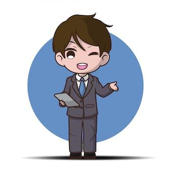 Caricature d'homme d'affaires mignon présentant