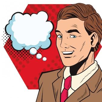 Caricature d'homme d'affaires pop art avec bulle de dialogue