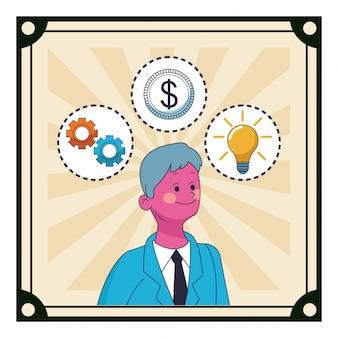 Caricature d'un homme d'affaires