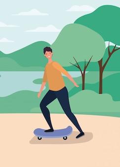 Caricature de l'homme sur la planche à roulettes à la conception de vecteur de parc