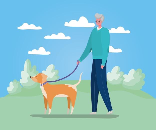 Caricature d'homme senior avec chien marchant à la conception du parc, thème de l'activité de plein air