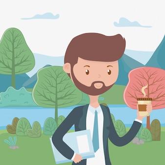 Caricature d'homme avec une tasse de café dans le parc